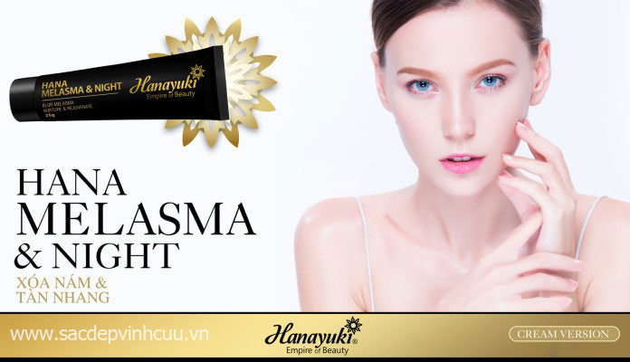kem trị nám hanayuki melamas night cream