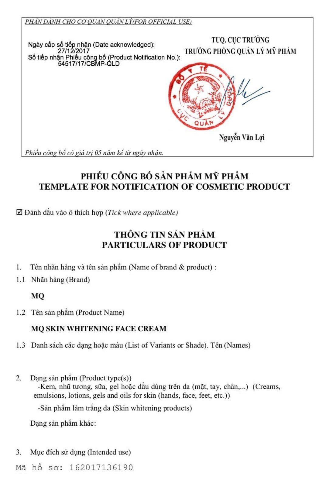 giấy chứng nhận mq skin