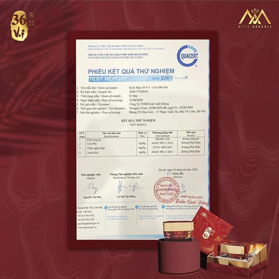 giấy chứng nhận cao mụn sâm đỏ