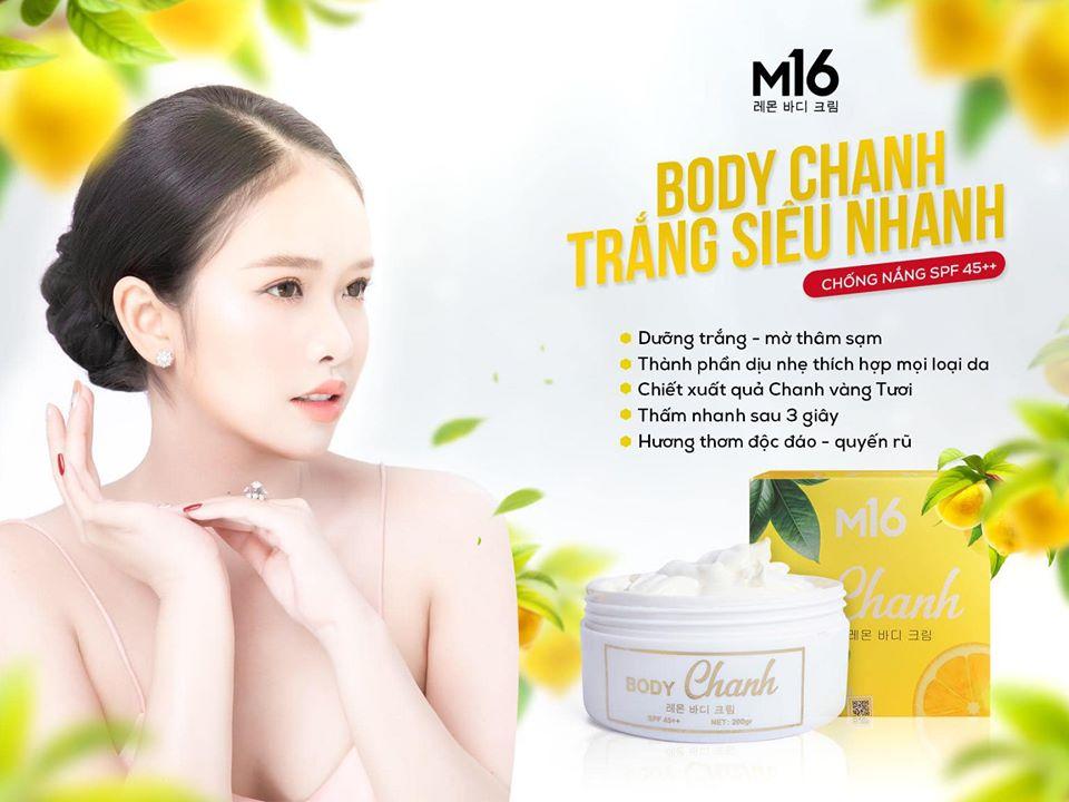 kem dưỡng trắng body chanh m16